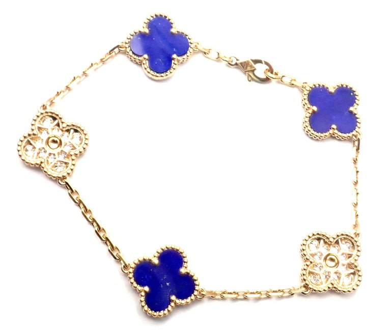 18k Yellow Gold Limited Edition Diamond And Lapis Lazuli Vintage Alhambra Bracelet by Van Cleef & Arpels. With 3 alhambra shape lapis stones  24 Round brilliant cut diamonds VVS1 clarity, E color total weight approx. .96ct This is a Limited Edition