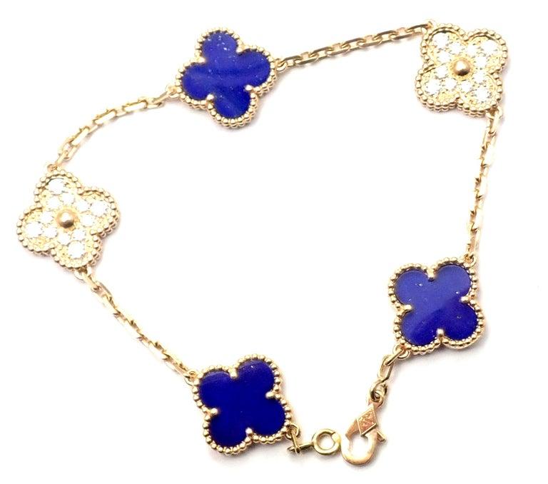 Uncut Van Cleef & Arpels Limited Edition Vintage Alhambra Diamond Lapis Gold Bracelet For Sale