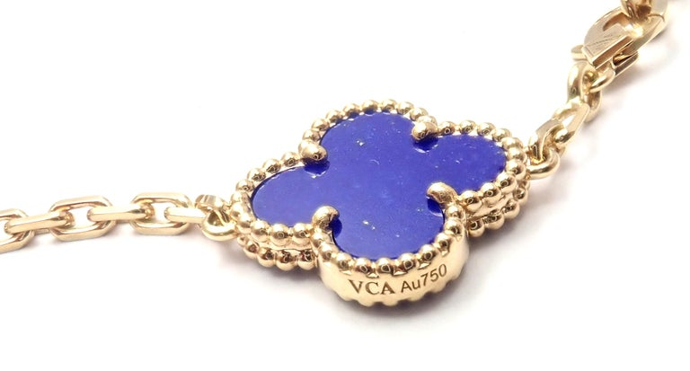 Van Cleef & Arpels Limited Edition Vintage Alhambra Diamond Lapis Gold Bracelet In Excellent Condition For Sale In Holland, PA