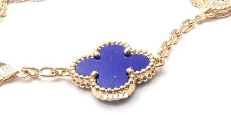 Women's or Men's Van Cleef & Arpels Limited Edition Vintage Alhambra Diamond Lapis Gold Bracelet For Sale
