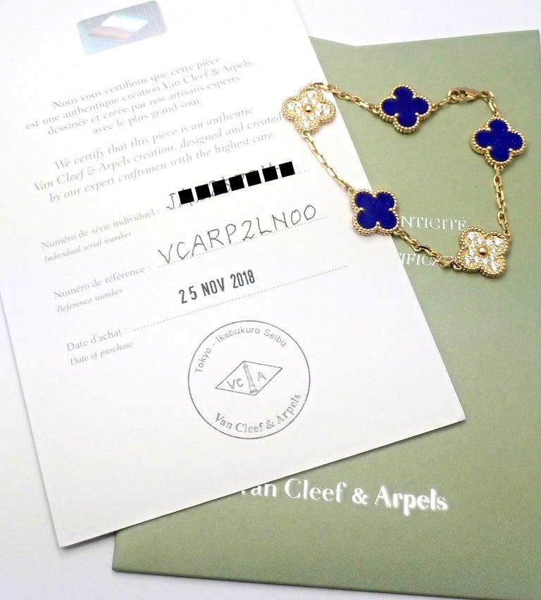 Van Cleef & Arpels Limited Edition Vintage Alhambra Diamond Lapis Gold Bracelet For Sale 1