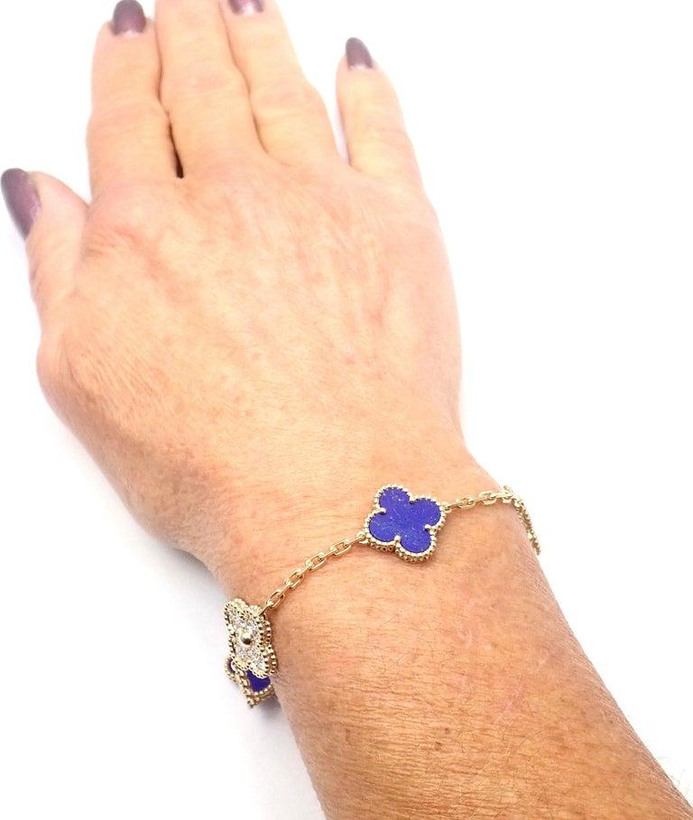 Van Cleef & Arpels Limited Edition Vintage Alhambra Diamond Lapis Gold Bracelet For Sale 3