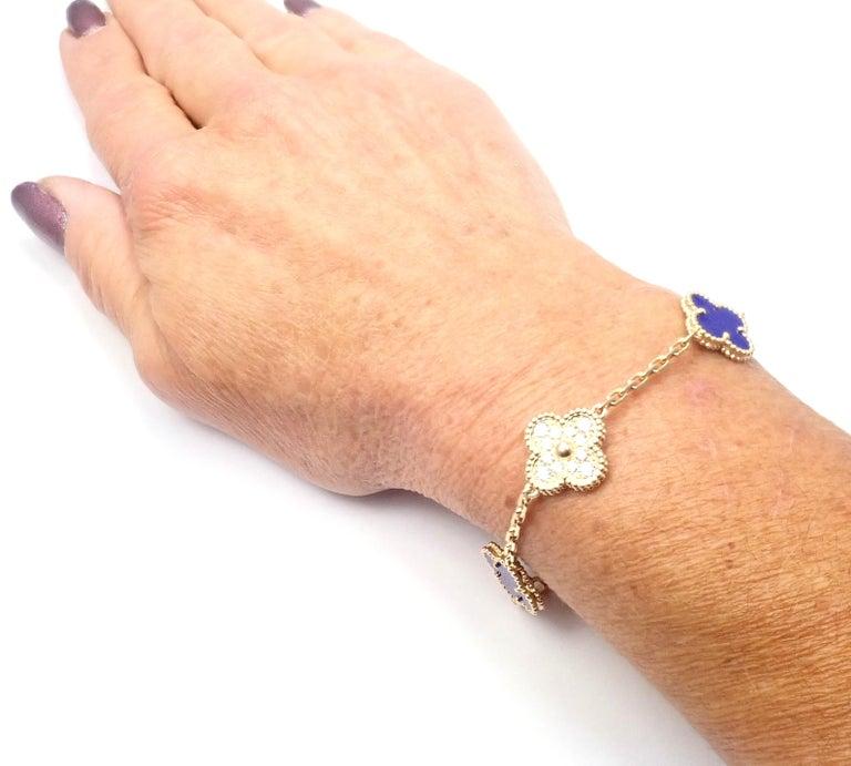 Van Cleef & Arpels Limited Edition Vintage Alhambra Diamond Lapis Gold Bracelet For Sale 4