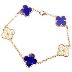 Van Cleef & Arpels Limited Edition Vintage Alhambra Diamond Lapis Gold Bracelet