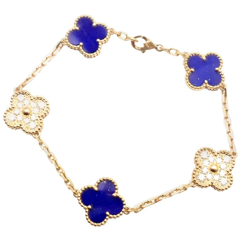 Van Cleef & Arpels Limited Edition Vintage Alhambra Diamond Lapis Gold Bracelet For Sale