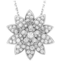 Van Cleef & Arpels Lotus 18 Karat White Gold Diamond Medium Pendant Necklace