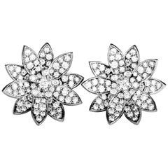 Van Cleef & Arpels Lotus 18 Karat White Gold and Diamond Omega Back Earrings