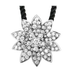 Van Cleef & Arpels Lotus 18 Karat White Gold Diamond Medium Pendant Necklace