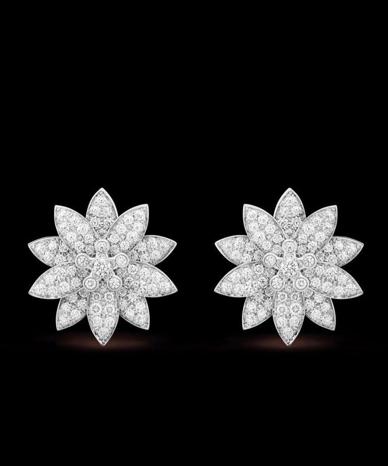 Round Cut Van Cleef & Arpels Lotus Diamond Earrings For Sale