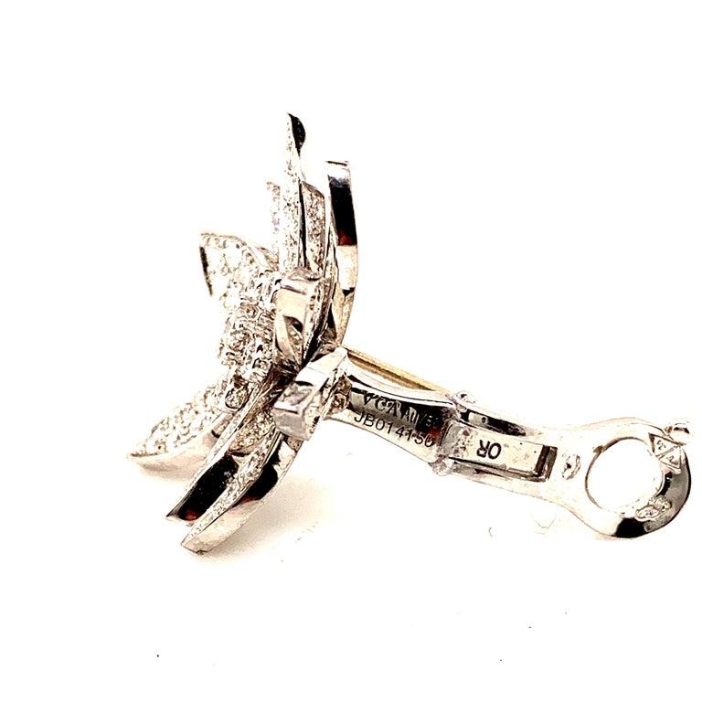 Women's or Men's Van Cleef & Arpels Lotus Diamond Earrings For Sale