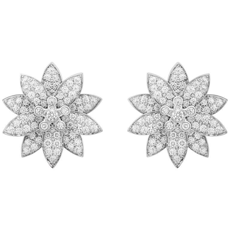 Van Cleef & Arpels Lotus Diamond Earrings For Sale