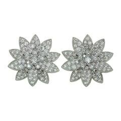 Van Cleef & Arpels Lotus Diamond White Gold Medium Earrings