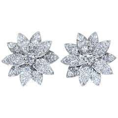 Van Cleef & Arpels Lotus Earrings, Small Model White Gold, Diamond