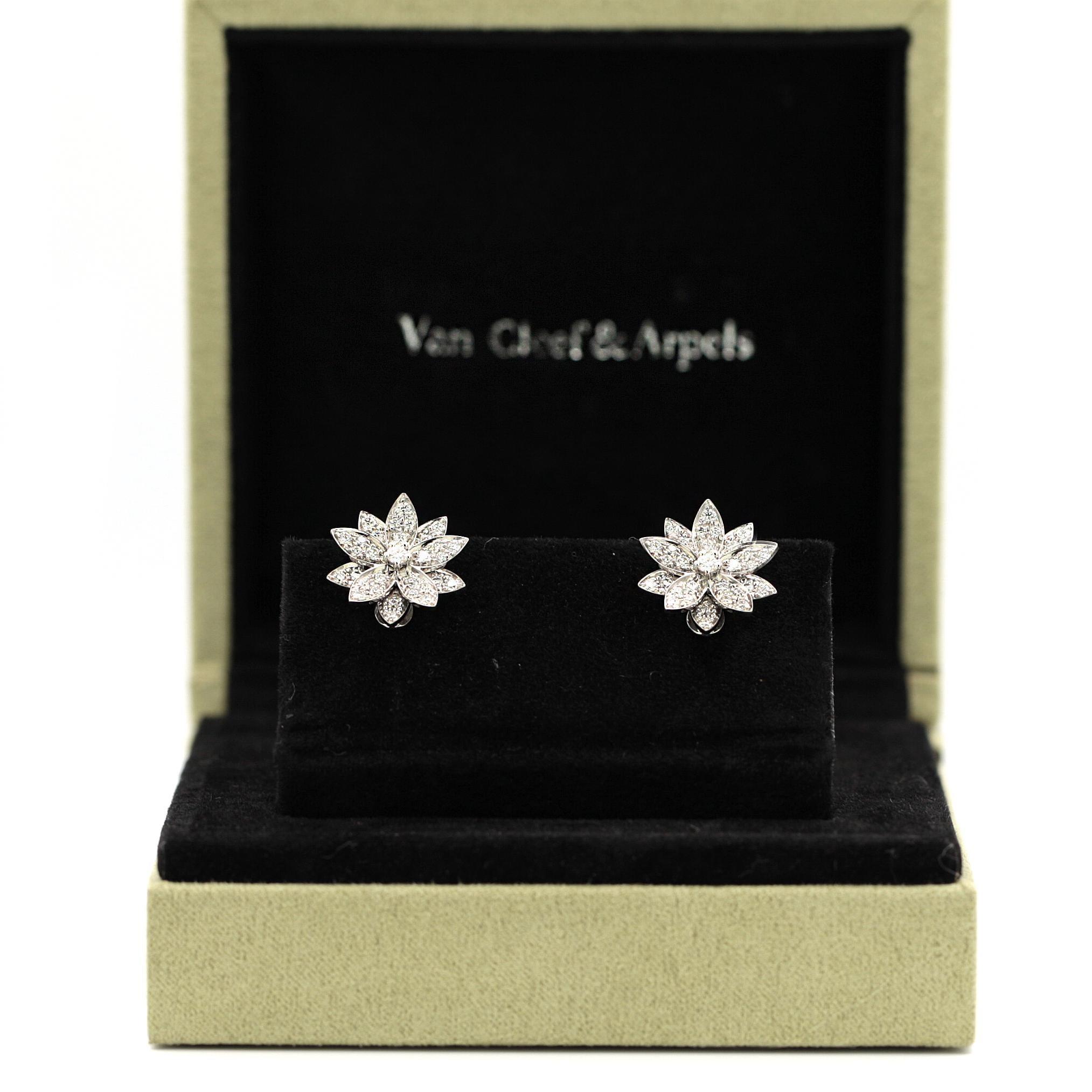 Van Cleef And Arpels Lotus Flower Stud 18 Karat White Gold Earrings