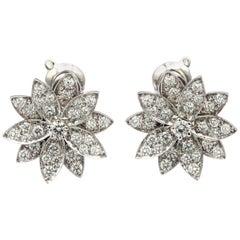 Van Cleef & Arpels Lotus Flower Stud 18 Karat White Gold Earrings