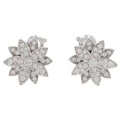 Van Cleef & Arpels 'Lotus' White Gold Diamond Earrings, Small Model