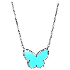 Van Cleef & Arpels Lucky Alhambra Big Turquoise Butterfly Pendant Necklace