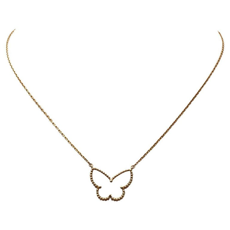Van Cleef & Arpels Lucky Alhambra Butterfly Pendant Necklace For Sale