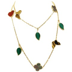 Van Cleef & Arpels Lucky Alhambra Long Necklace, 12 Motifs, Yellow Gold