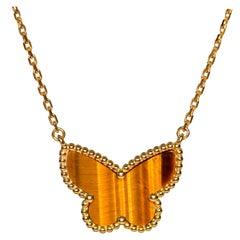 Van Cleef & Arpels Lucky Alhambra Tiger Eye 18 Karat Butterfly Pendant