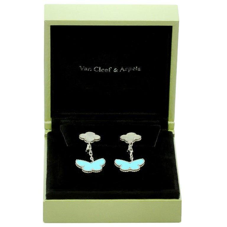 Van Cleef & Arpels Lucky Alhambra Turquoise MOP White Gold Butterfly Earrings In Excellent Condition For Sale In New York, NY