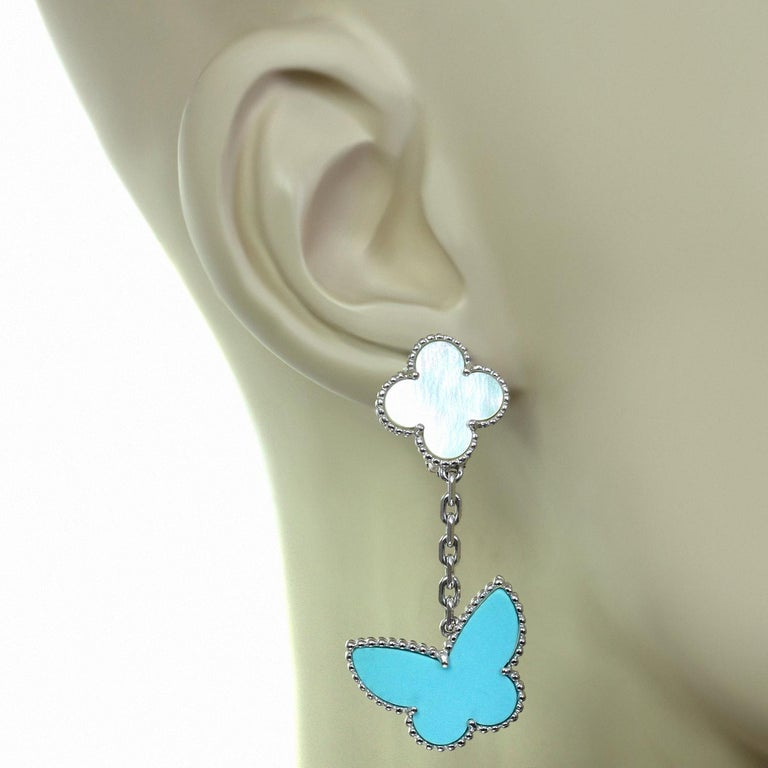 Women's Van Cleef & Arpels Lucky Alhambra Turquoise MOP White Gold Butterfly Earrings For Sale