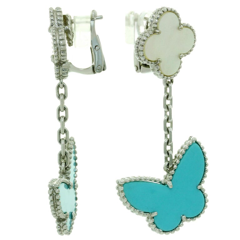 Van Cleef & Arpels Lucky Alhambra Turquoise MOP White Gold Butterfly Earrings For Sale 1