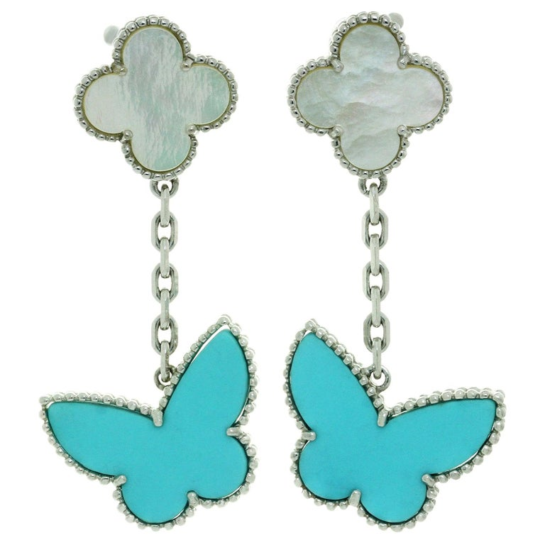 Van Cleef & Arpels Lucky Alhambra Turquoise MOP White Gold Butterfly Earrings For Sale