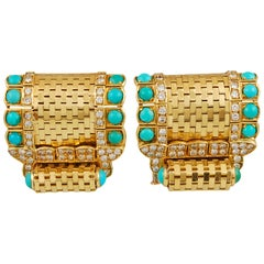 Van Cleef & Arpels Ludo Briquettes Turquoise Brooch Pair