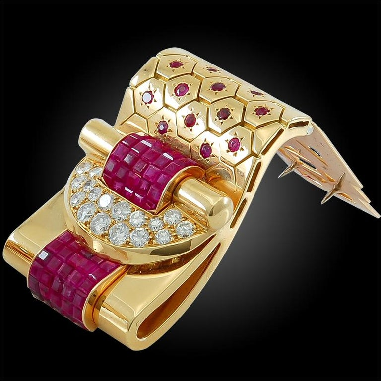 Women's or Men's Van Cleef & Arpels Ludo-Hexagone Diamond, Mystery-Set Ruby Brooches For Sale