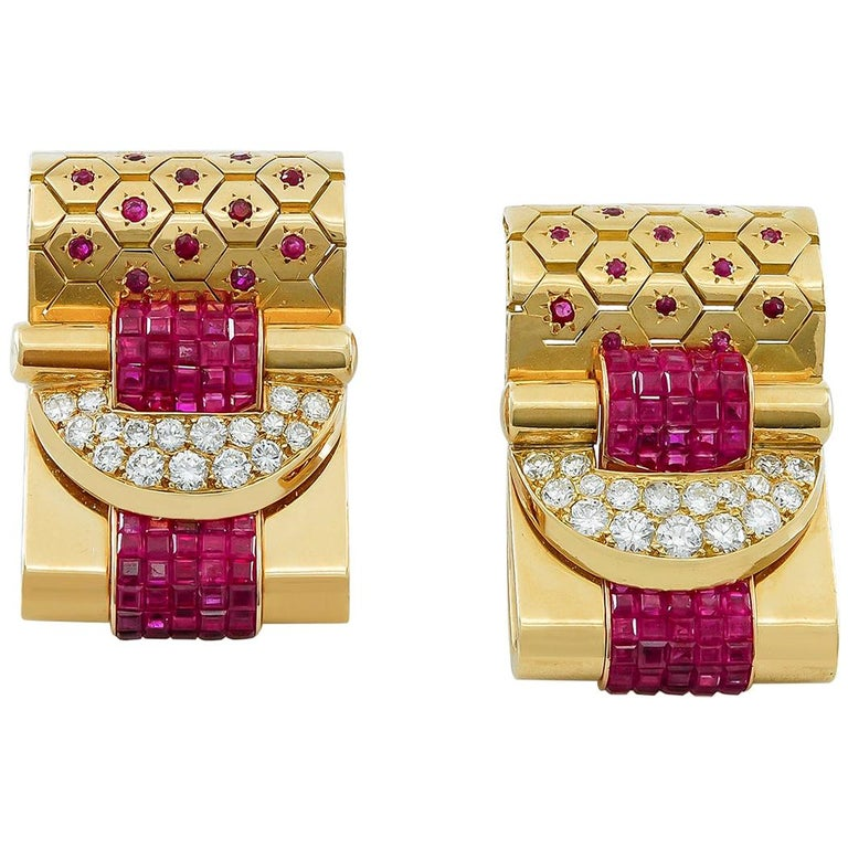 Van Cleef & Arpels Ludo-Hexagone Diamond, Mystery-Set Ruby Brooches For Sale