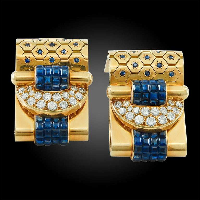 Van Cleef & Arpels Ludo-Hexagone Diamond, Mystery-Set Sapphire Brooches In Good Condition For Sale In New York, NY