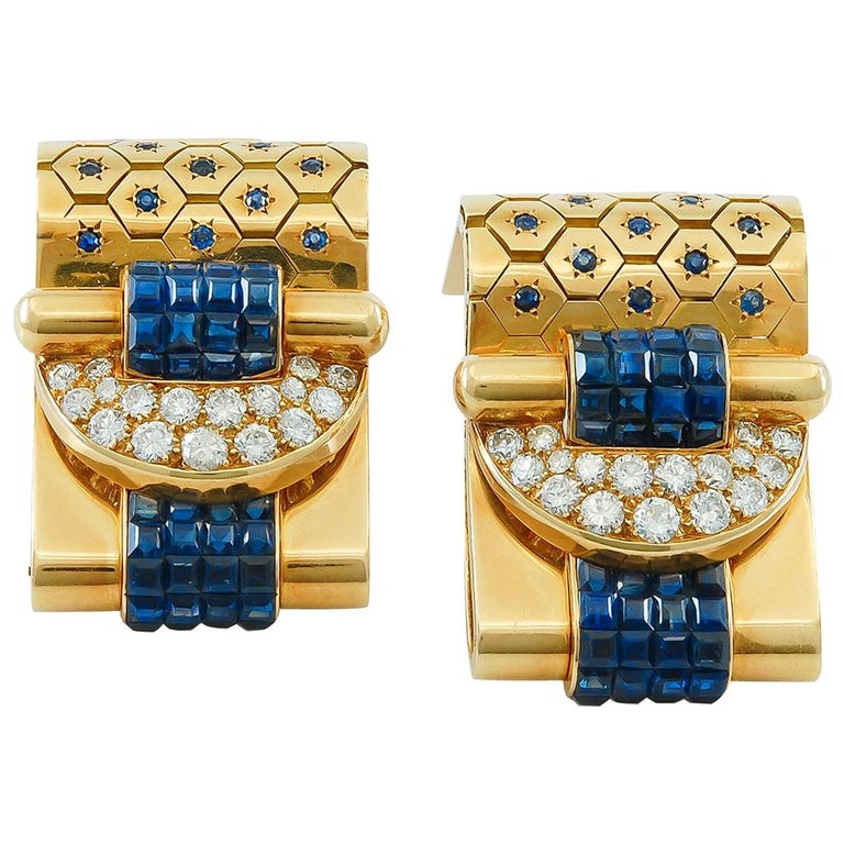Van Cleef & Arpels Ludo-Hexagone Diamond, Mystery-Set Sapphire Brooches For Sale