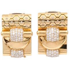 Van Cleef & Arpels Retro  Ludo Hexagone Diamond Gold Double Clips
