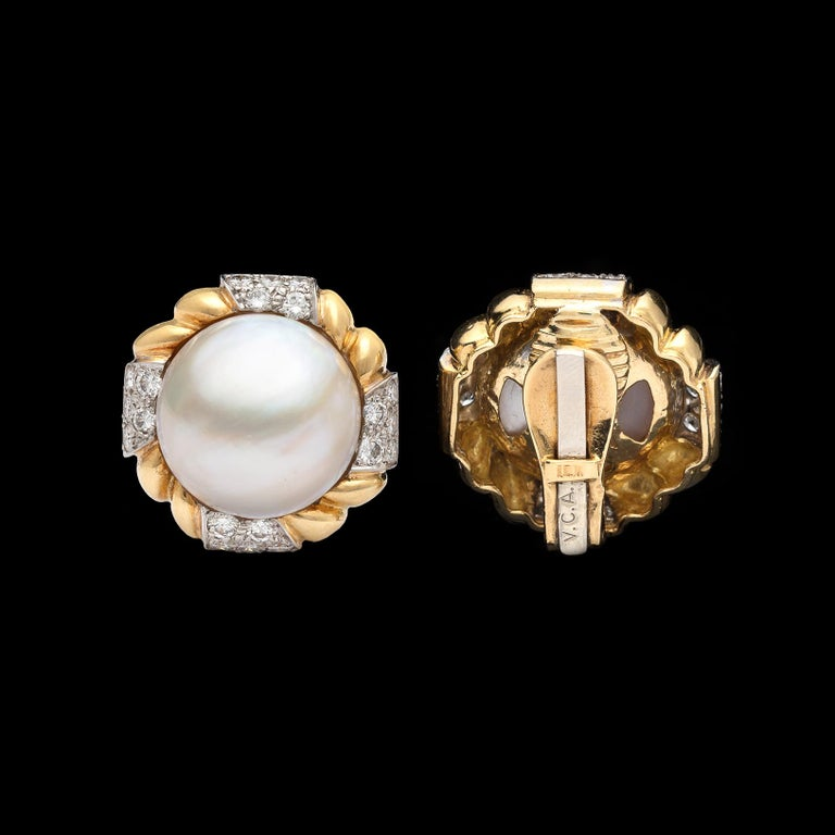 Women's Van Cleef & Arpels Mabé Pearl and Diamond Ear Clips For Sale