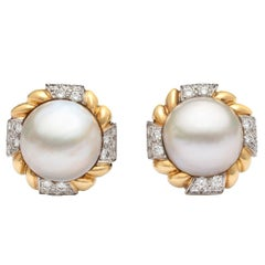 Van Cleef & Arpels Mabé Pearl and Diamond Ear Clips