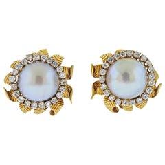 Van Cleef & Arpels Mabe Pearl Diamond Gold Flower Earrings