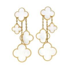 Van Cleef & Arpels Magic Alahambra 4 Motif Mother of Pearl Earrings