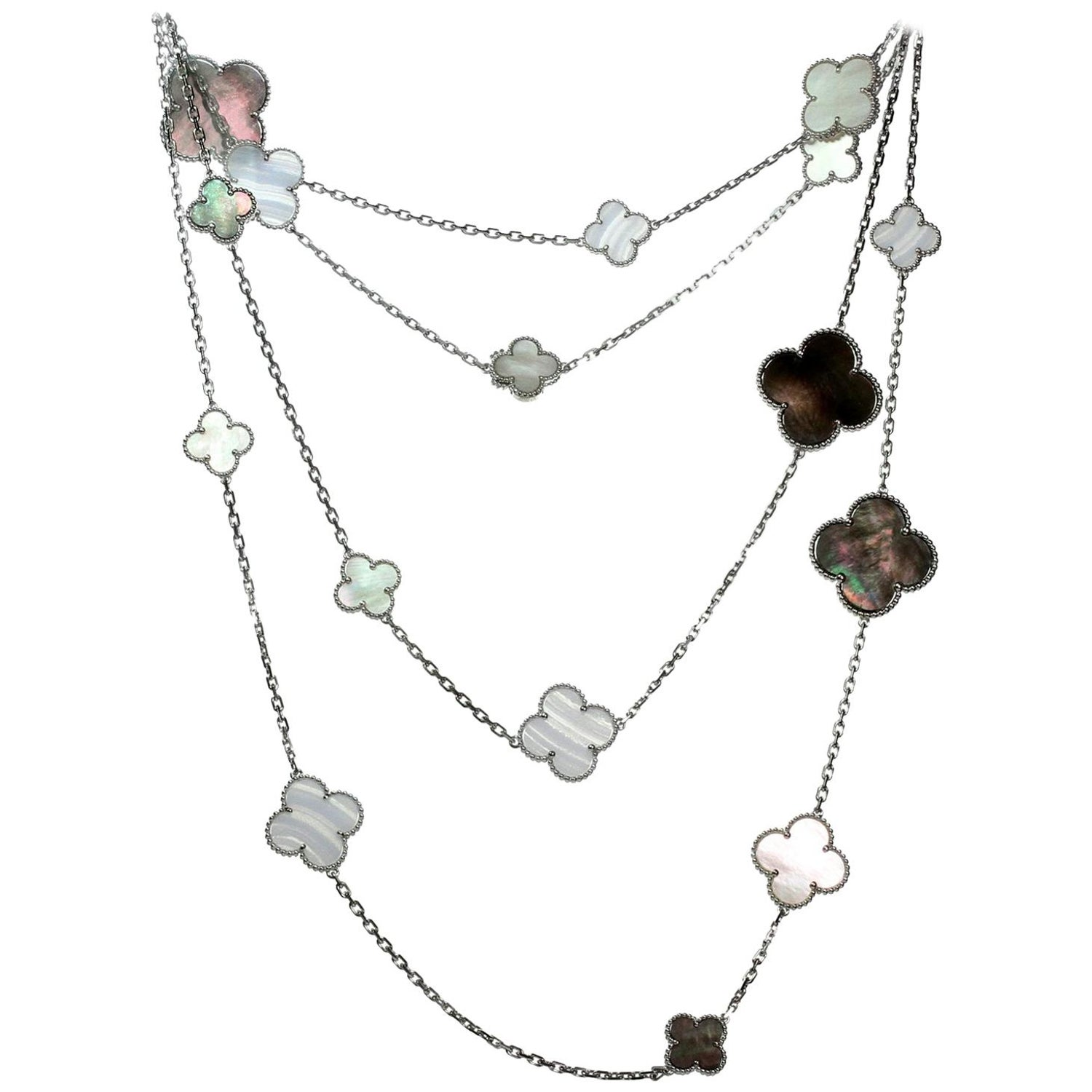 ed6faf9b6c06 Van Cleef and Arpels Magic Alhambra 16 Motif Chalcedony Mother-of-Pearl  Necklace For Sale at 1stdibs