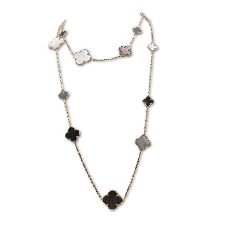 Van Cleef & Arpels Magic Alhambra 16 Motif Long Necklace In Excellent Condition For Sale In New York, NY