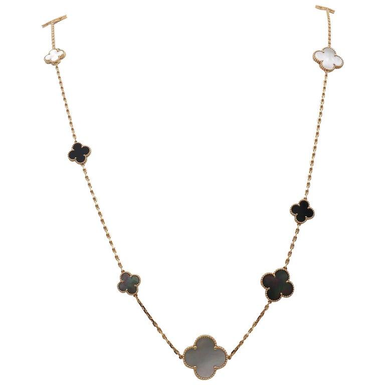 Van Cleef & Arpels Magic Alhambra 16 Motif Long Necklace For Sale