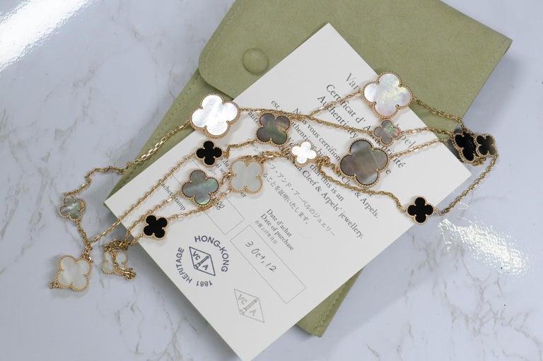 Uncut Van Cleef & Arpels Magic Alhambra 16 Motif Yellow Gold Long Necklace