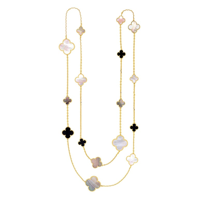 Van Cleef & Arpels Magic Alhambra 16 Motif Yellow Gold Long Necklace