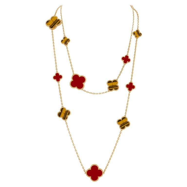 Van Cleef & Arpels Magic Alhambra 16 Motifs Long Necklace For Sale