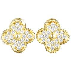 Van Cleef & Arpels Magic Alhambra 18 Karat Yellow Gold Diamond Clip-On Earrings