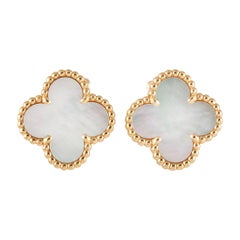 Van Cleef & Arpels Magic Alhambra 18K Yellow Gold Mother of Pearl ClipOn Earring