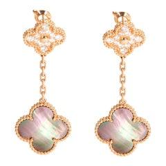 Van Cleef & Arpels Magic Alhambra 2 Motif Diamond Earrings in 18 Karat Rose Gold