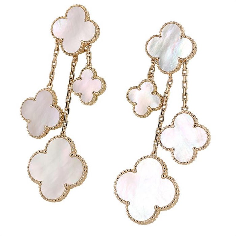 Created in 2006 by Van Cleef & Arpels, the Magic Alhambra jewelry creations gather different-sized Alhambra motifs, coming together in a joyful dance. Inspired by the clover leaf, their asymmetric designs feature different associations of materials.