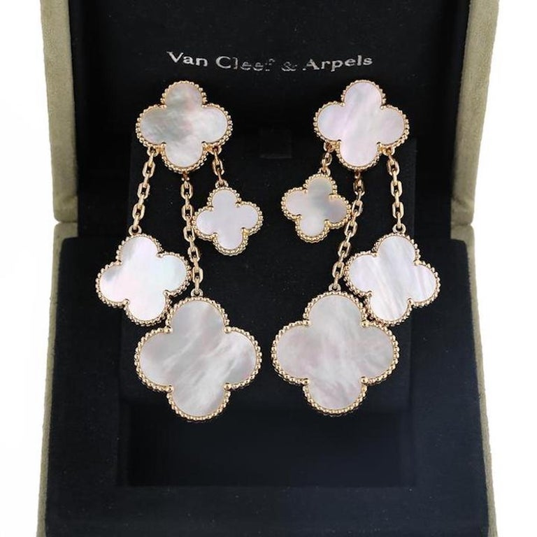 Modern Van Cleef & Arpels Magic Alhambra 4 Motifs Mother of Pearl Earrings For Sale