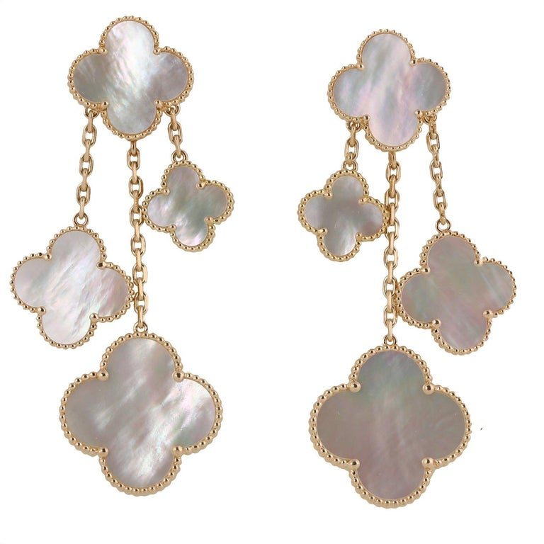 Mixed Cut Van Cleef & Arpels Magic Alhambra 4 Motifs Mother of Pearl Earrings For Sale